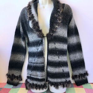 Alberto Makali Cardigan Sweater Rabbit Fur Trim